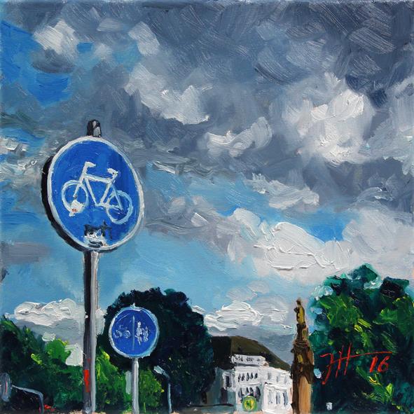 Wolkenhimmel für die Radfahrer – Römerbrücke